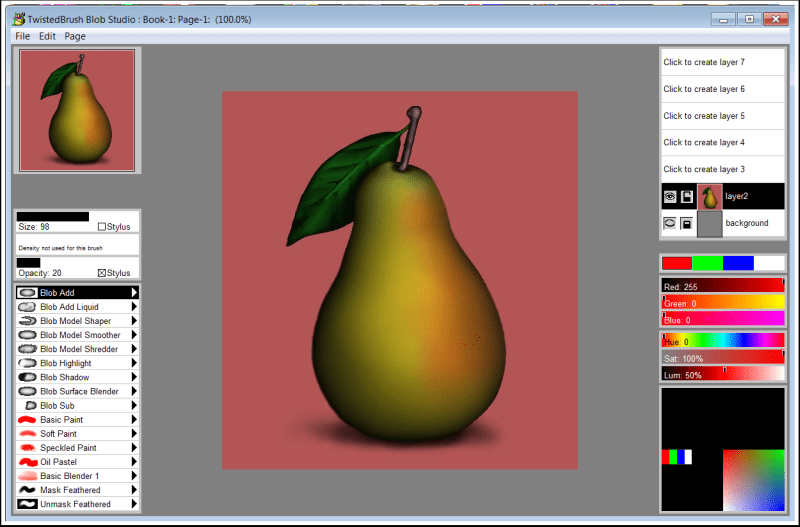 Blob Studio, Graphic Design Software Screenshot
