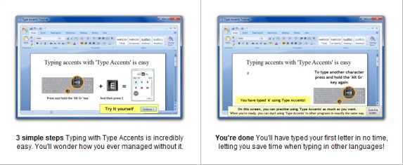 Type Accents, Productivity Software Screenshot