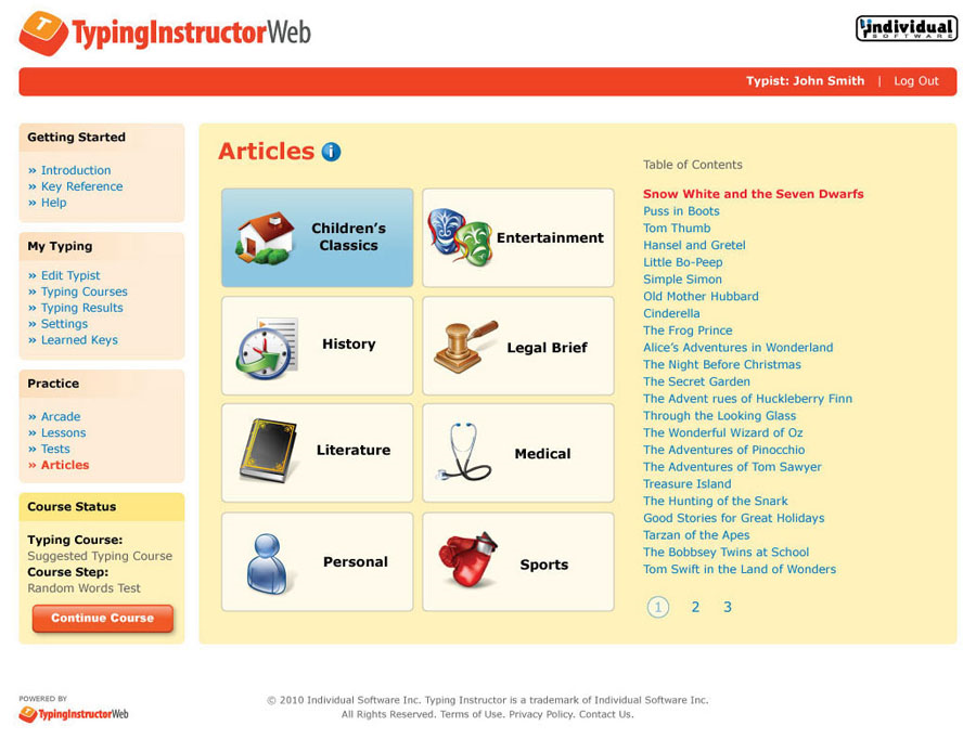 Typing Instructor Web Annual Subscription, Productivity Software Screenshot