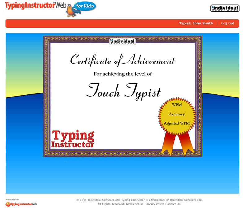 Typing Software, Typing Instructor Web for Kids Annual Subscription Screenshot