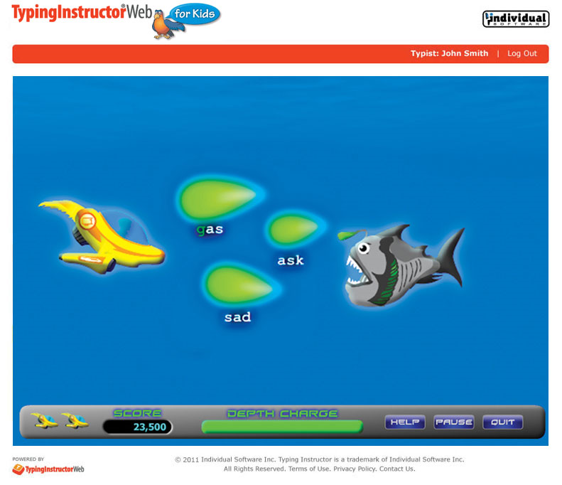 Typing Instructor Web for Kids Annual Subscription, Typing Software Screenshot