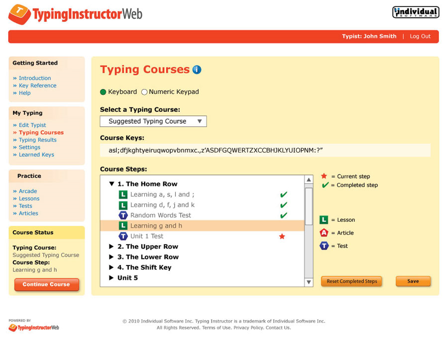 Typing Instructor Web Annual Subscription Screenshot