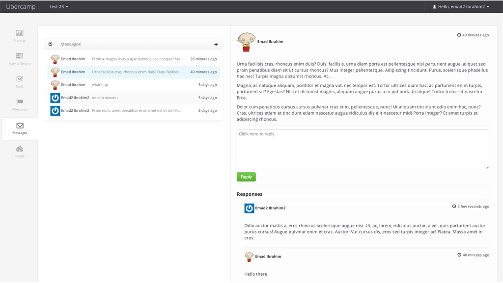 Ubercamp, Project Management Software Screenshot