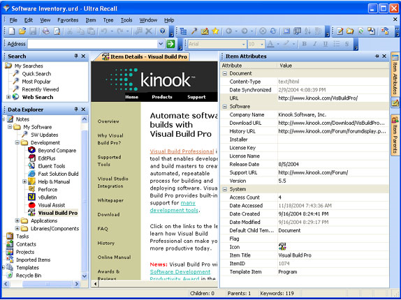 Ultra Recall v3, Productivity Software Screenshot