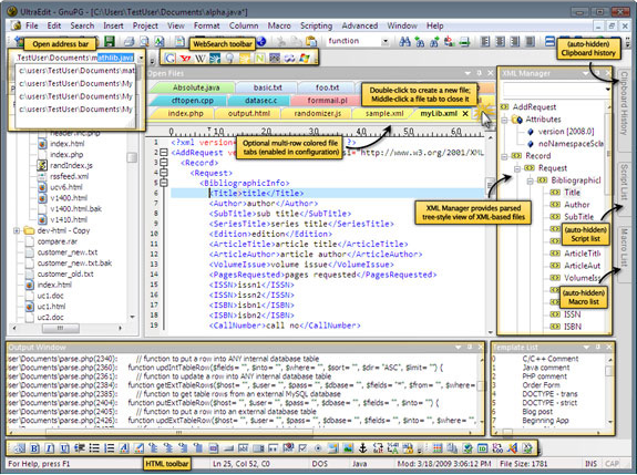 HTML Editor Software, UltraEdit + UltraCompare + Mobility! Screenshot