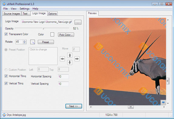 uMark Professional, Watermark Software Screenshot