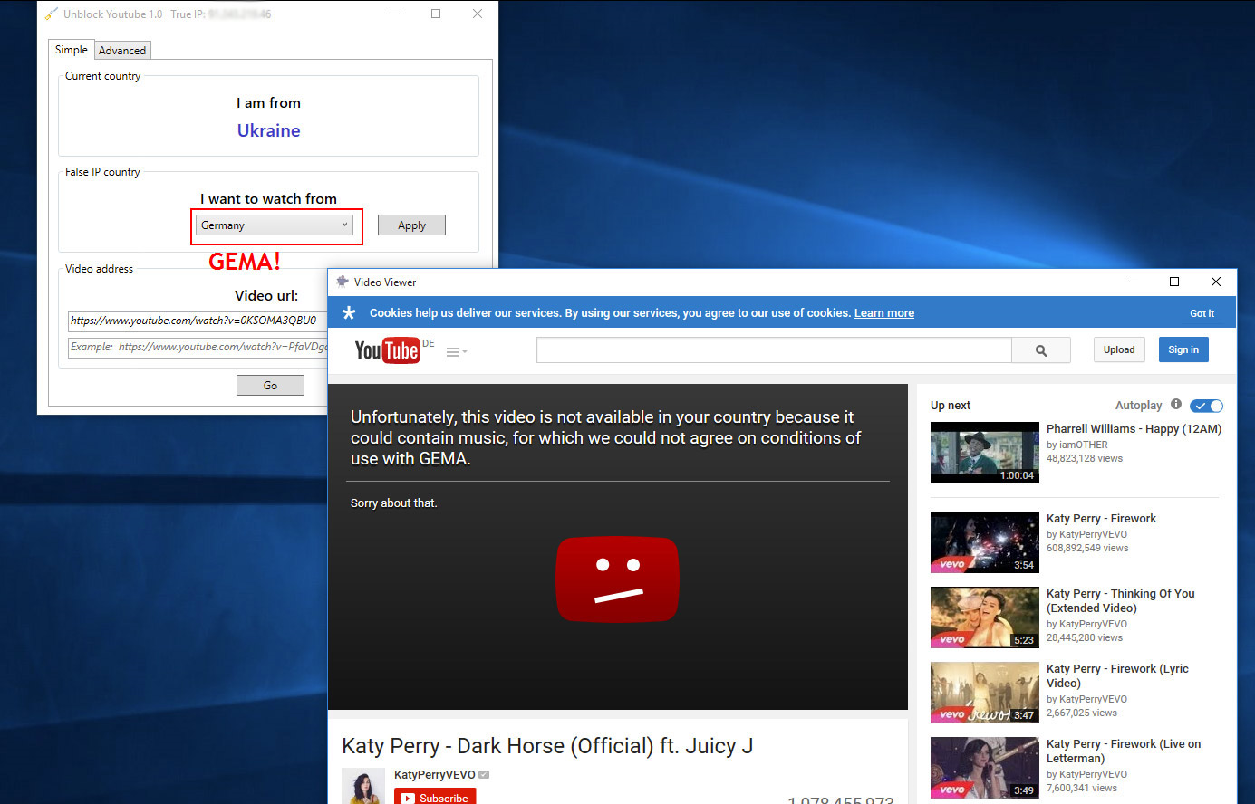 Unblock Youtube, Privacy Software Screenshot