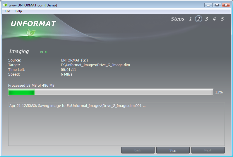 UNFORMAT, Recovery Software Screenshot