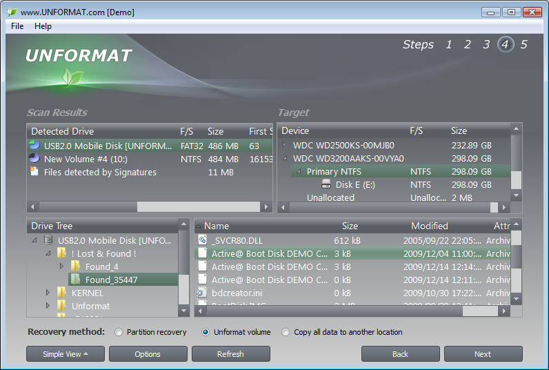 Software Utilities, UNFORMAT Screenshot