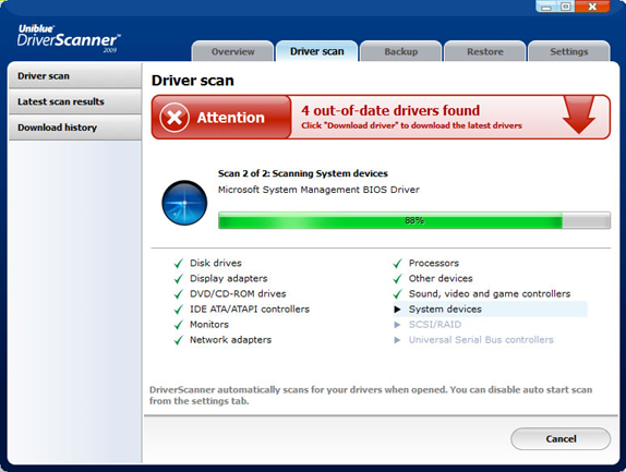 Uniblue Driver Scanner 2009, PC Optimization Software Screenshot