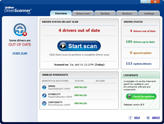 Uniblue Driver Scanner 2009 Screenshot