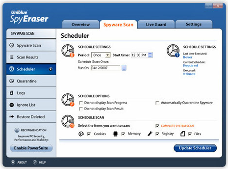 Security Software, Uniblue Spy Eraser Screenshot