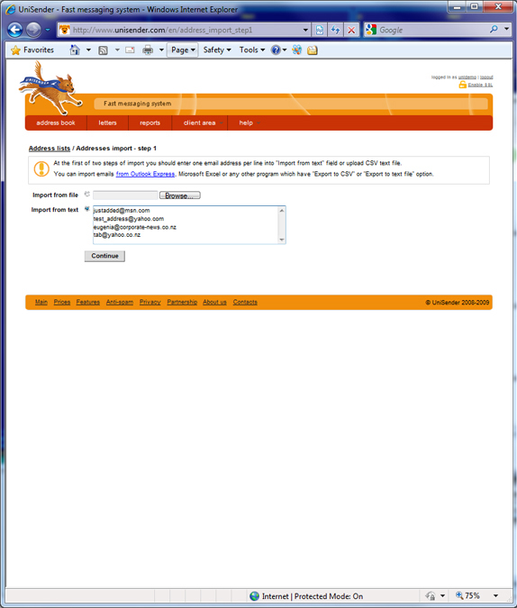 UniSender Screenshot
