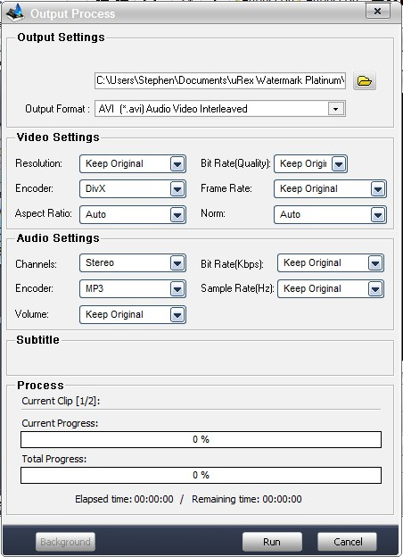 Watermark Software, uRex Videomark Platinum Screenshot