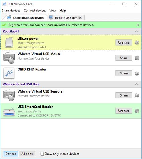 USB Network Gate for Windows Screenshot