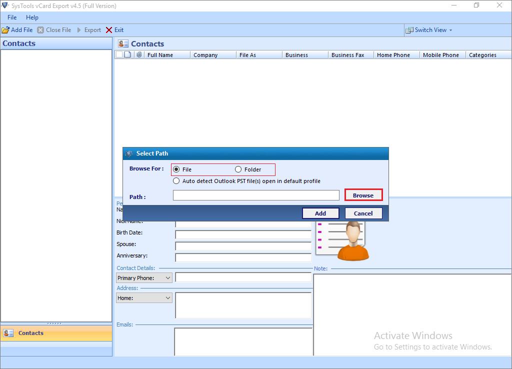 vCard Export Screenshot