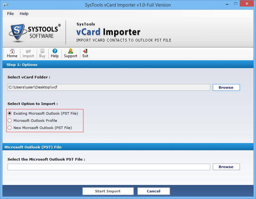 vCard Importer Screenshot