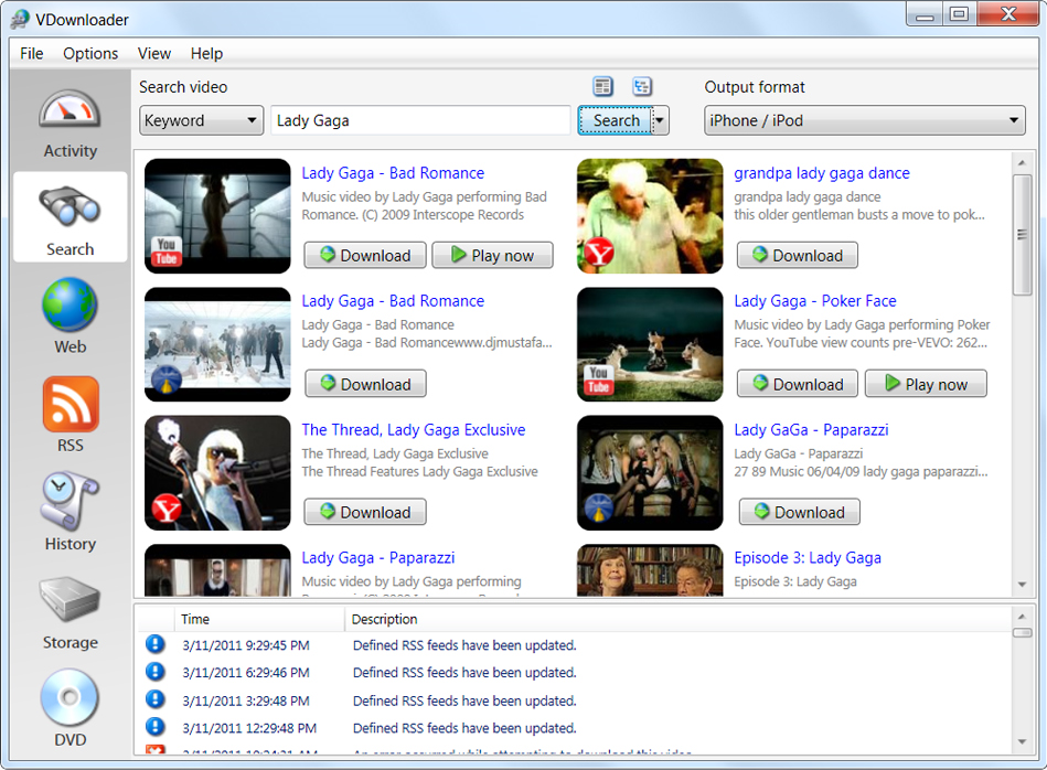 VDownloader Plus, Video Software Screenshot