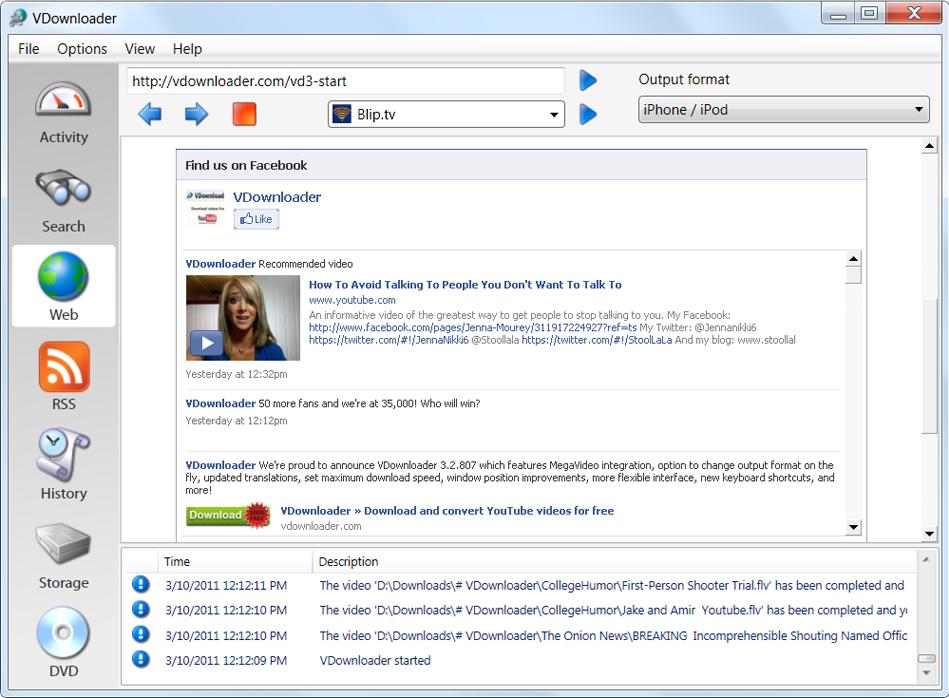 Online Video Software, VDownloader Plus Screenshot