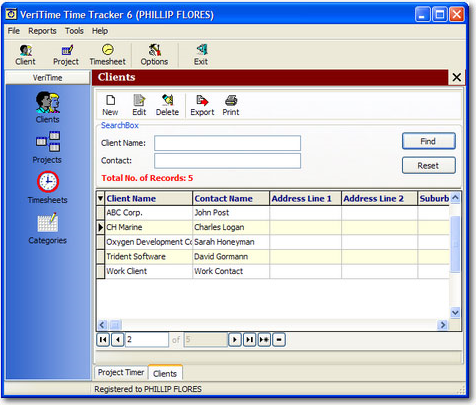 Time Tracking Software Screenshot