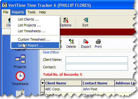 VeriTime Time Tracker Pro, Productivity Software Screenshot