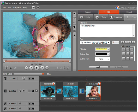 Video Editor Personal, Video Editing Software Screenshot