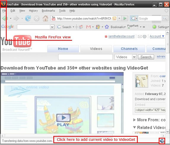 VideoGet, YouTube Downloader Software Screenshot