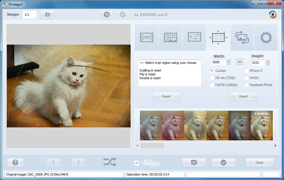 Vintager, Photo Editing Software Screenshot
