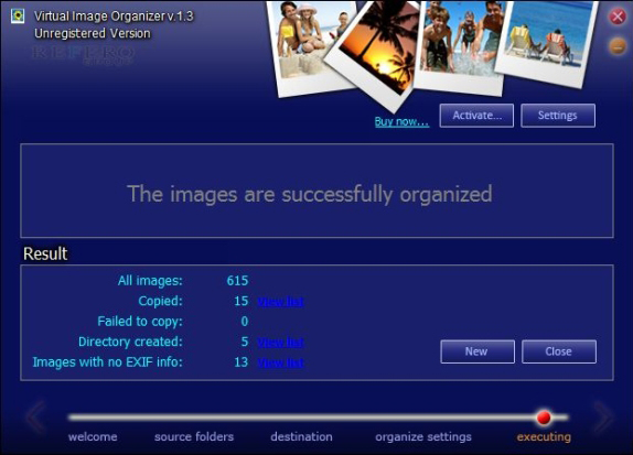 File Rename Software, Virtual Image Organizer Screenshot