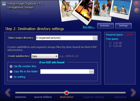 Virtual Image Organizer, File Rename Software Screenshot