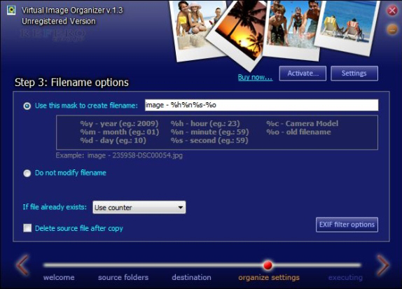 Virtual Image Organizer, Software Utilities Screenshot