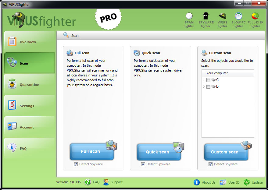 VIRUSfighter, Security Software Screenshot