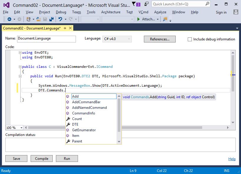 Visual Commander Professional, Development Tools Software Screenshot