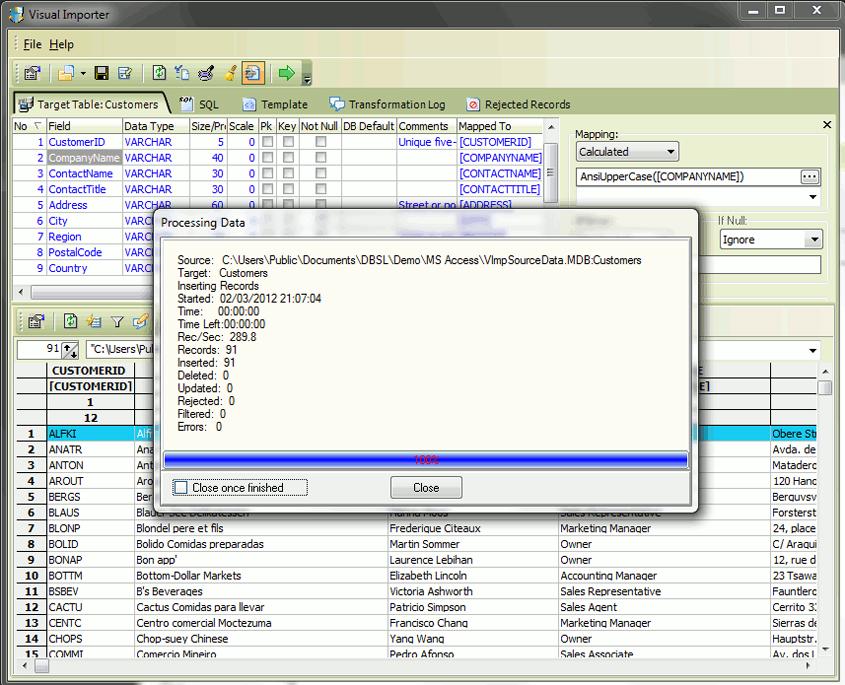 Visual Importer ETL Screenshot