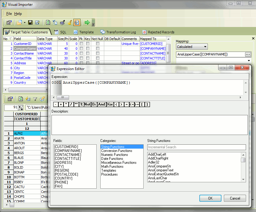 Visual Importer ETL, Database Software Screenshot