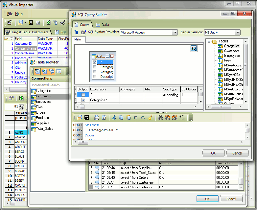 Database Software, Visual Importer ETL Screenshot