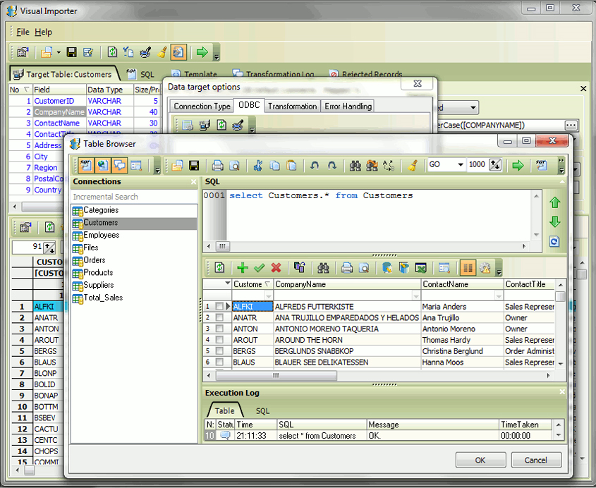 Development Software, Visual Importer ETL Screenshot