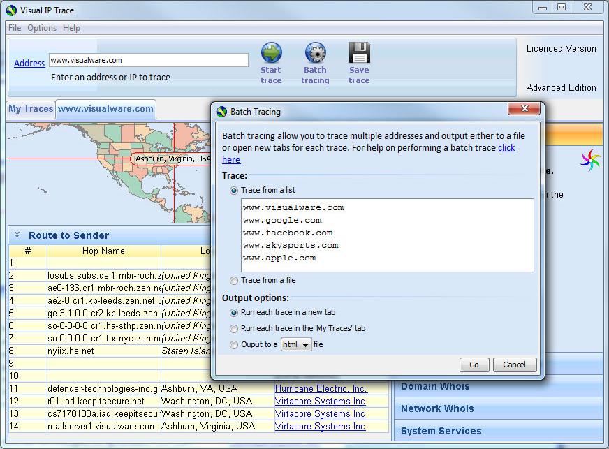 Visual IP Trace, Network Security Software Screenshot
