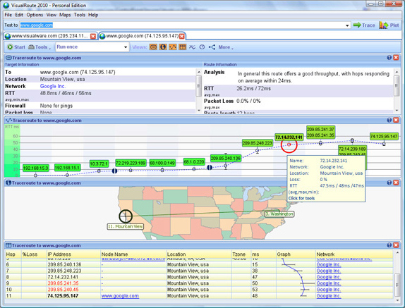 VisualRoute Personal Edition, Network Connectivity Software Screenshot