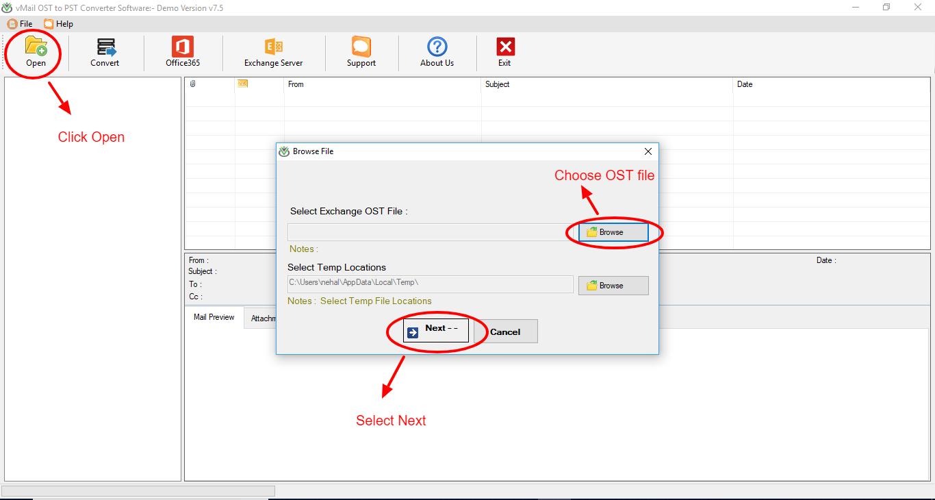 vMail OST to PST converter Screenshot