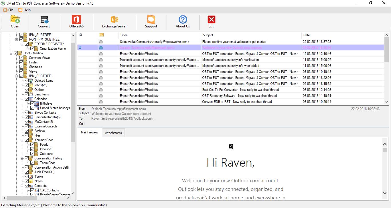 vMail OST to PST converter, Internet Software Screenshot