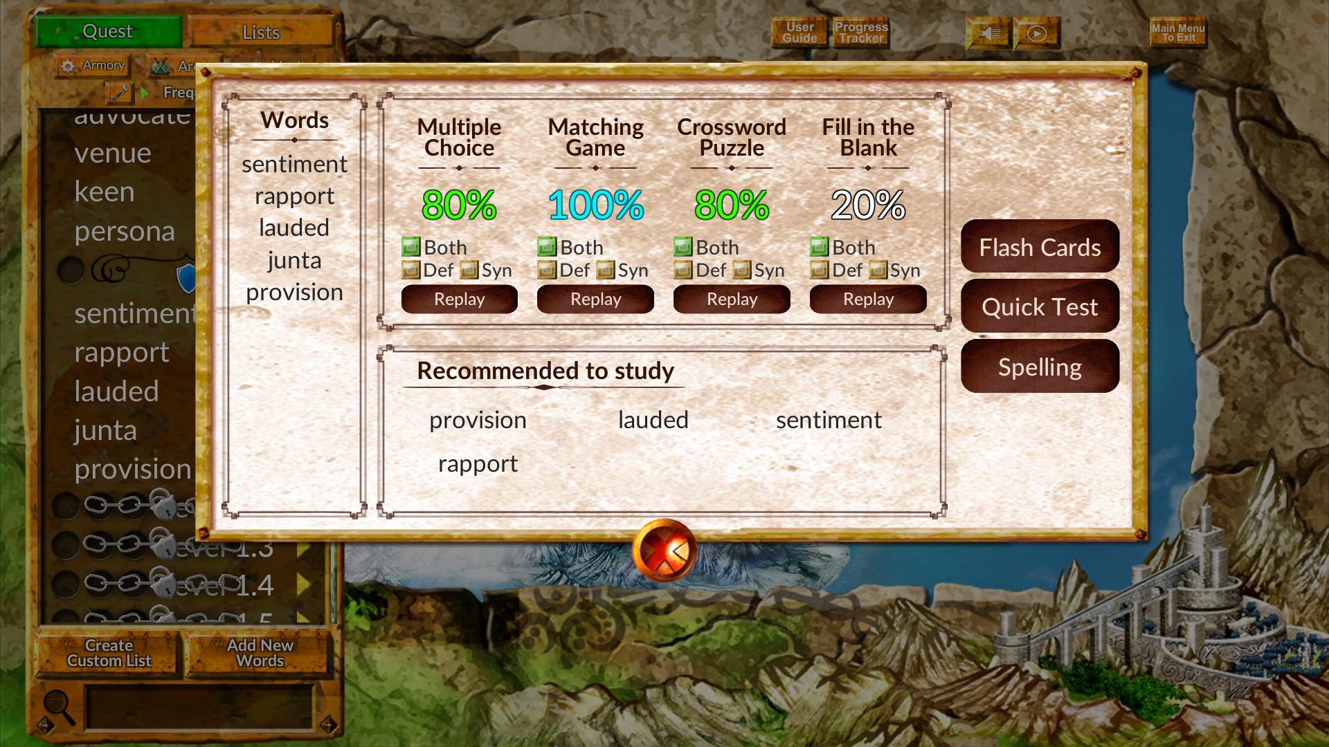 Hobby, Educational & Fun Software, Vocabulary Quest Screenshot
