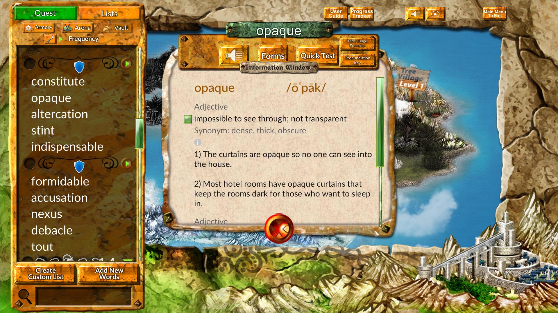 Vocabulary Quest, Educational Software Screenshot