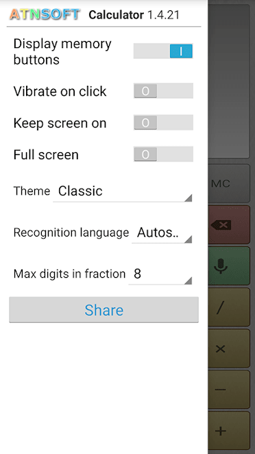 Multi-Screen Voice Calculator for Android, Productivity Software Screenshot