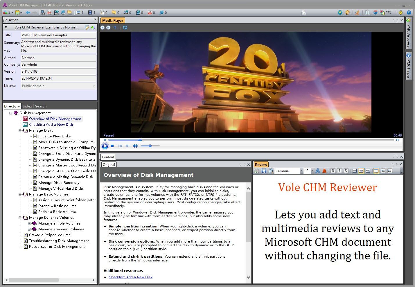 Vole CHM Reviewer Professional Edition Screenshot