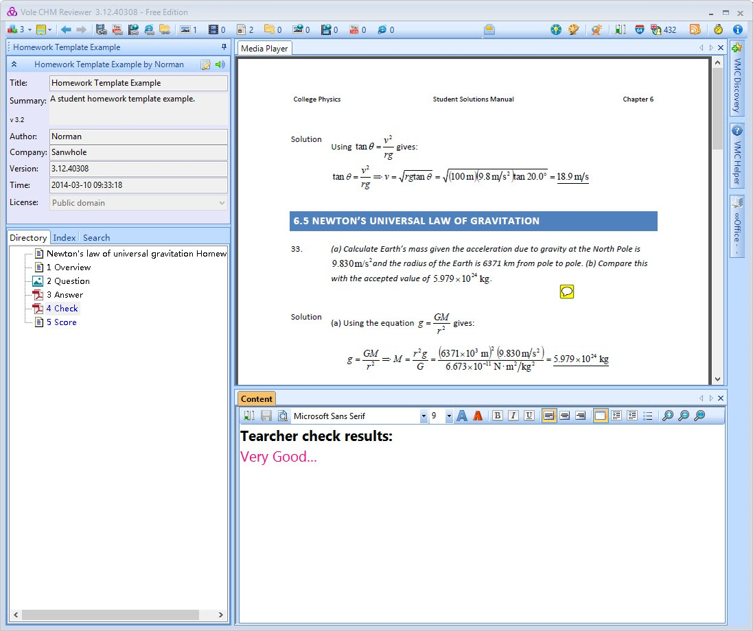 Reference Software, Vole CHM Reviewer Professional Edition Screenshot