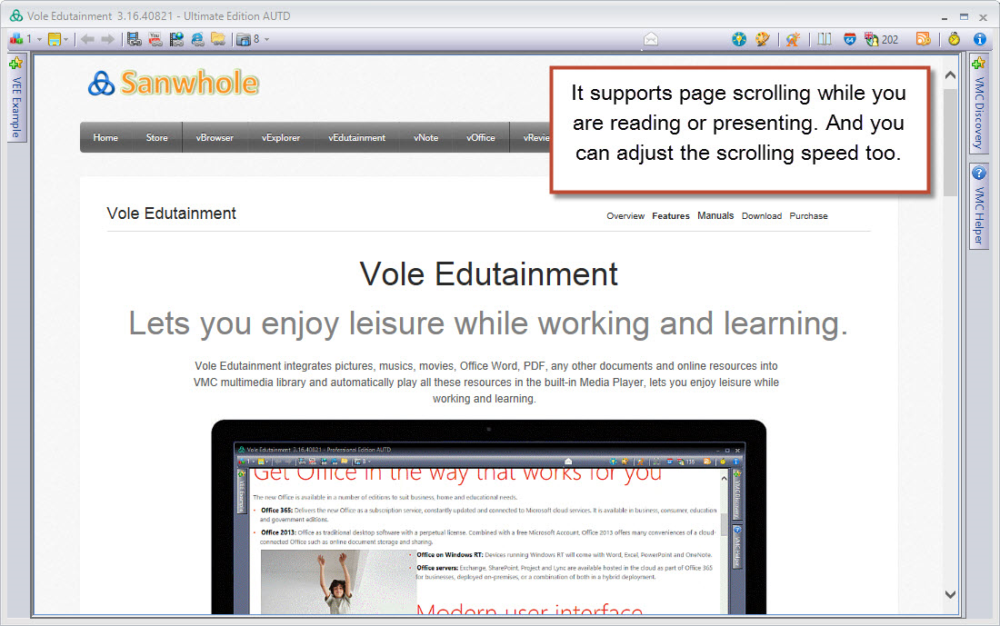 Video Player Software, Vole Edutainment Professional Edition Screenshot