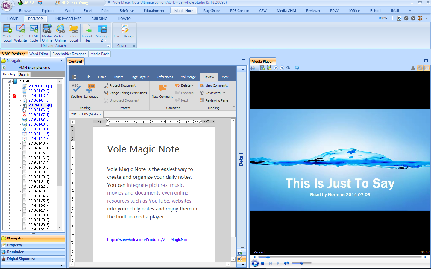 Writing and Journaling Software, Vole Magic Note Ultimate Edition Screenshot
