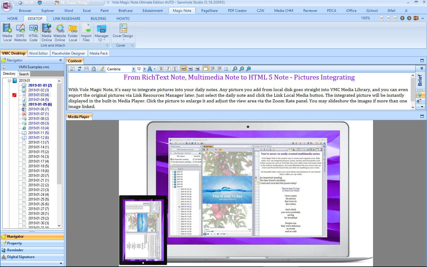 Writing and Journaling Software, Vole Magic Note Professional Edition Screenshot