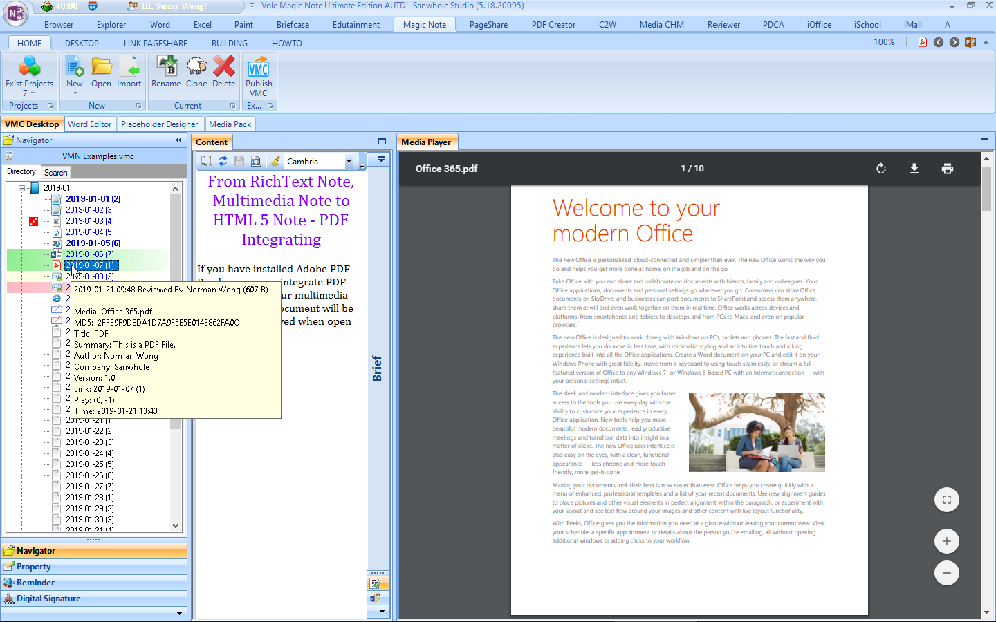 Hobby, Educational & Fun Software, Vole Magic Note Professional Edition Screenshot